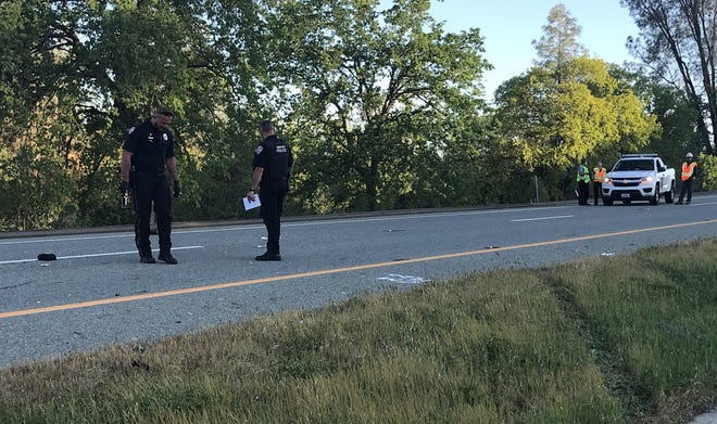 Police investigate a collision that killed a man on a motorized bike after he was hit by a Toyota Prius on southbound Highway 273 in north Redding, authorities said.