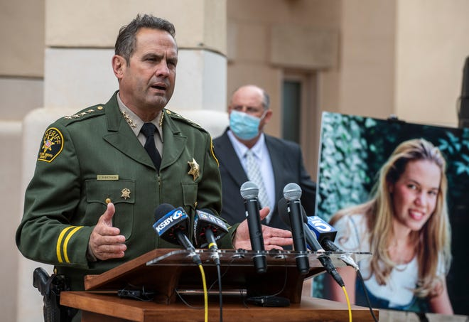 San Luis Obispo County Sheriff Ian Parkinson, gives a press conference regarding the 1996 disappearance of Kristin Smart at the California Polytechnic State University on Tuesday, April 13, 2021.