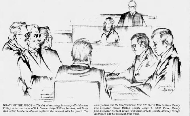 March 11, 1978: The day of reckoning for county officials came Friday in the courtroom of U.S. District Judge William Sessions, and Times staff artist Lamberto Alvarez captured the moment with his pencil. The county officials in the foreground are, from left, Sheriff Mike Sullivan, County Commissioner Chuck Mattox, County Judge T. Udell Moore, County Commissioner Richard Telles (with back turned), County Attorney George Rodriguez, and his assistant Mike Davis.