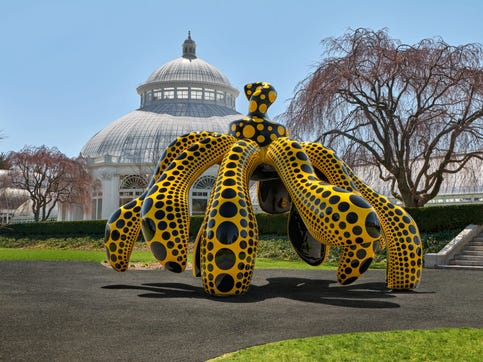 """""""Dancing Pumpkin,"""" is part of  """"KUSAMA: Cosmic Nature,"""" featuring work by internationally celebrated Japanese artist Yayoi Kusama, now at the New York Botanical Garden. Collection of the artist. Courtesy Ota Fine arts and David Zwirner."""