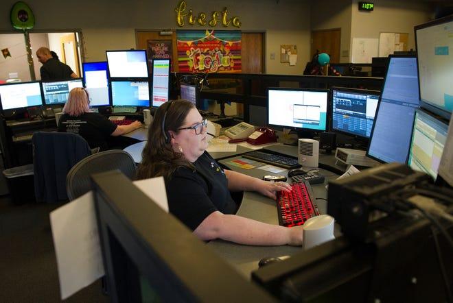 Wichita Falls dispatcher Kassandra Jackson worked the Wichita County emergency communication channels Tuesday morning during National Public Safety Telecommunicators Week.