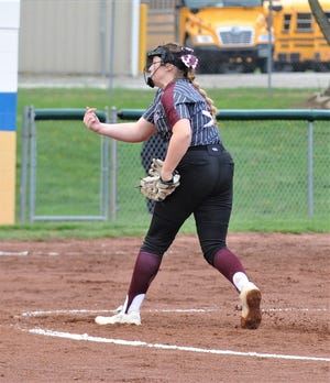 John Glenn's Sydney Marshall throws a pitch against Philo. Marshall was voted the MVL Big School Division softball pitcher of the year.