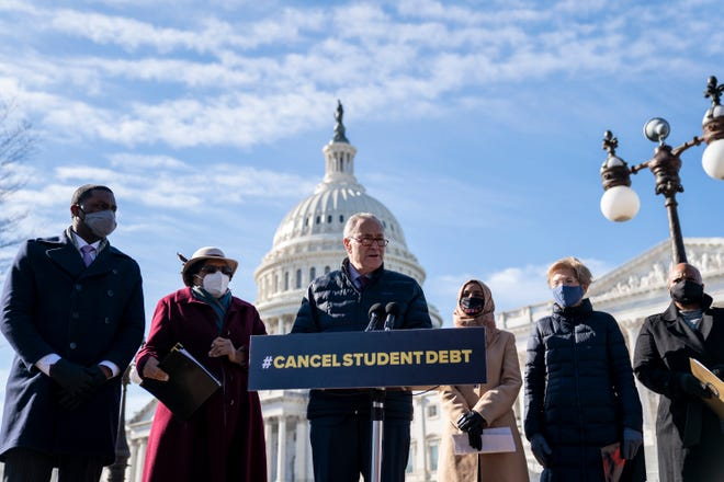 Senate Majority Leader Chuck Schumer (D-NY) speaks during a press conference about student debt outside the U.S. Capitol on February 4, 2021 in Washington, DC. Also pictured, L-R, Rep. Mondaire Jones (D-NY), Rep. Alma Adams (D-NC), Rep. Ilhan Omar (D-MN), Sen. Elizabeth Warren (D-MA) and Rep. Ayanna Pressley (D-MA). (Photo by Drew Angerer/Getty Images)