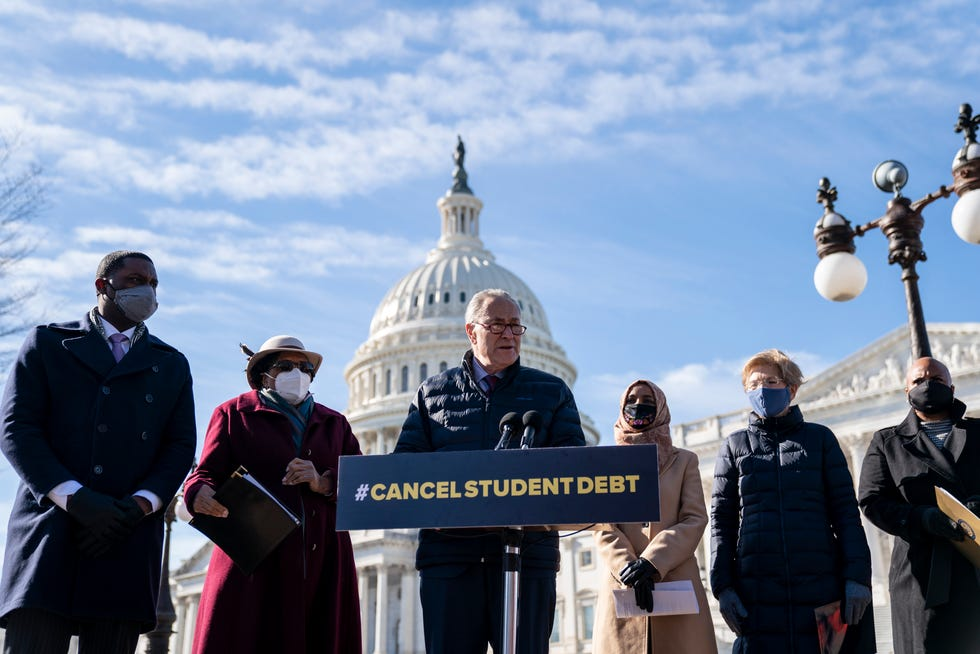 Senate Majority Leader Chuck Schumer, D-N.Y., speaks during a press conference about student debt outside the U.S. Capitol on Feb. 4, 2021.