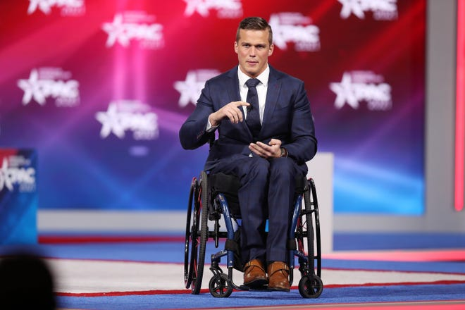 Rep. Madison Cawthorn (R-NC) addresses the Conservative Political Action Conference being held in the Hyatt Regency on Feb. 26, 2021 in Orlando, Florida. Cawthorn, the recently elected youngest member of Congress, raised more than $1 million for his campaign committee in the first quarter.