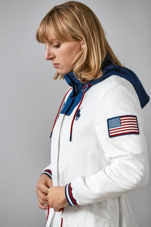 Katie Ledecky sports Team USA's closing outfit.