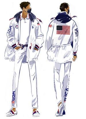 A sketch of the closing ceremonies uniform.