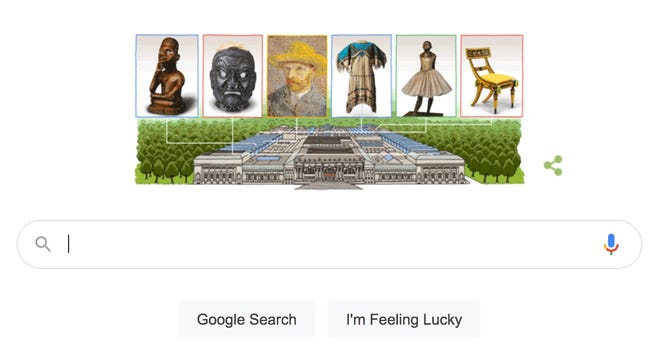A screenshot of the Google doodle honoring the anniversary of the Metropolitan Museum of Art.