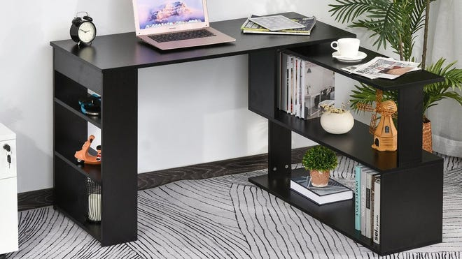 The 360-degree rotating design of Porch & Den's L-shaped desk make it easy to situate in any room.