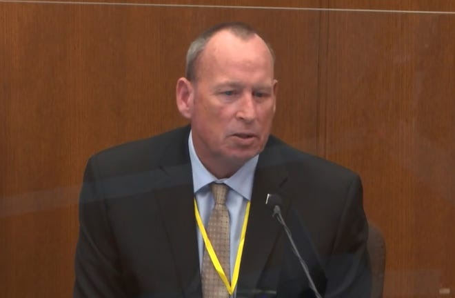 In this image from video, former Minneapolis Police Officer Scott Creighton testifies as Hennepin County Judge Peter Cahill presides, Tuesday, April 13, 2021, in the trial of former Minneapolis police Officer Derek Chauvin at the Hennepin County Courthouse in Minneapolis, Minn.  Chauvin is charged in the May 25, 2020 death of George Floyd.