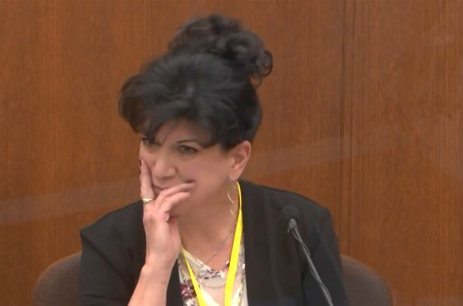 In this image from video, former paramedic Michelle Moseng testifies as Hennepin County Judge Peter Cahill presides, Tuesday, April 13, 2021, in the trial of former Minneapolis police Officer Derek Chauvin at the Hennepin County Courthouse in Minneapolis, Minn.  Chauvin is charged in the May 25, 2020 death of George Floyd.
