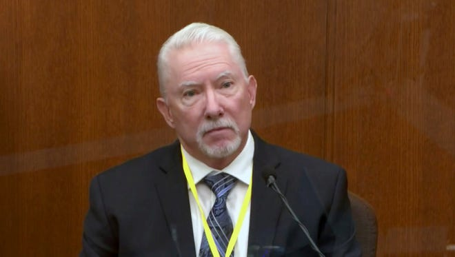 In this image from video, Barry Brodd, a use of force expert testifies as Hennepin County Judge Peter Cahill presides, Tuesday, April 13, 2021.