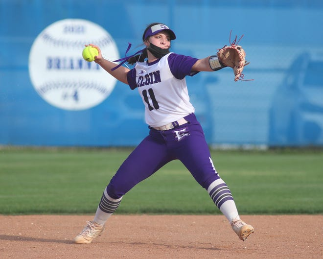 Elgin junior shortstop Hailey Girod, firing the ball to first during a game against Pflugerville earlier this month, said beating Georgetown during her freshman year has been her best softball memory.