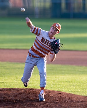 """Ridge Morgan, whom Westwood baseball coach Casey Carter calls a """"fearless freshman,"""" threw six scoreless innings as the Warriors picked up a critical 3-0 win over Vandegrift April 13. The victory strengthened Westwood's playoff position in the District 25-6A race."""