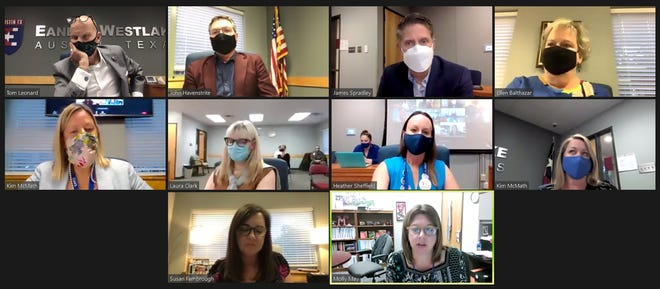 The Eanes school board met virtually on April 13 with limited in-person attendance for the first time this year.