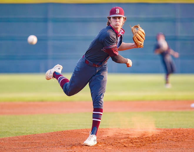 Bastrop starting pitcher Connally Bodine delivers to the plate during the Bears' 4-0 loss to Pflugerville Tuesday at Pflugerville High School. Bodine allowed three hits and four runs in the loss.