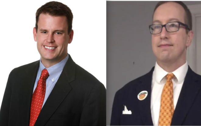 Brian Brodrick, left, is now running unopposed for Watkinsville mayor after Peter H. Steckel, right, withdrew from the special election after buying a home outside the city limits.
