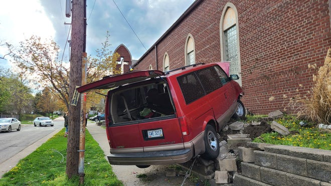 A van crashed into a wall Wednesday at Middlebury Chapel at Crouse and South Arlington streets in Akron after the driver said his brakes stopped working.