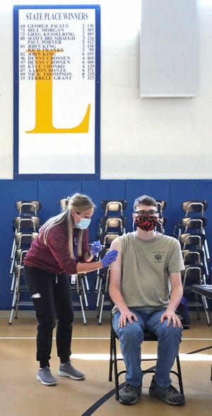 Tallmadge senior Jacob Berkey, 18, was one of the first of 38 Tallmadge students to receive the Pfizer vaccine at the school's 16+ student vaccination clinic in April. The district is now planning a clinic for students 12 and older.