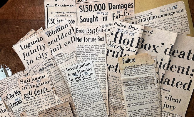 """Newspaper accounts from 1955 detail the mysterious death of a woman who had been put in an isolation cell by police. About 15 minutes later, a jailer discovered she had been fatally scalded by steam. It became known as the """"hot box"""" death."""