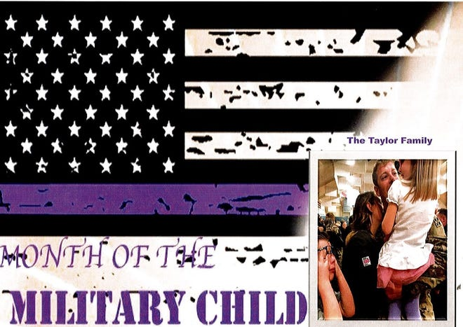 """These are my two children when their daddy came home from his fourth deployment!  Their favorite place to be stationed so far was Fort Carson in Colorado. We are originally from Colorado so it gave them a time to feel """"normal"""" and have family around! When asked what it is like to be a military brat they ask others what's it like to not be one?  We look at every move as an adventure yes heartbreak comes with it but so does discovering new things and places! Besides Colorado we loved Alaska -50 for weeks at a times was rough hit not as tough as we find this hot humidity that Louisiana has served us up! However it doesn't matter if we are in blizzard in Alaska, sandstorms in El Paso, TX, with family in Colorado, smelling sweet magnolias bloom in Fort Benning, GA or fighting off Hurricane Laura a week after moving in to our home at Fort Polk we do it as a family!  Pictured: Tristan Taylor, Amy Taylor, Sophia Taylor and Sergeant First Class Timothy Taylor."""