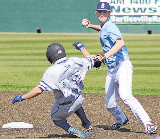 Bartlesville High School's Jakob Hall, right, looks to ring up an out during varsity baseball play earlier this season. Hall also has been the Bruins' top shutdown pitcher.