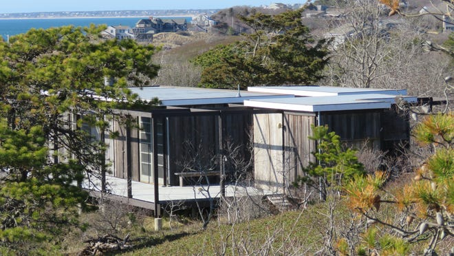 The Ruth and Robert Hatch Jr. House, a lovely example of Modern style architecture, is on Bound Brook Island in Wellfleet.