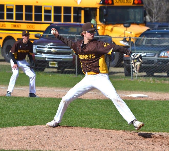 Senior Ethan Landon is back as a pitcher for the Pellston varsity baseball team this season.