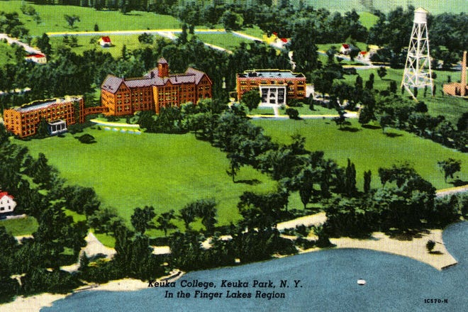 An old hand tinted postcard of Keuka College where in 1971, Dr. James Graby gave a lecture on the potential impact of genetic manipulation in human engineering.