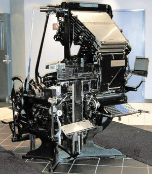 This Linotype machine from 1920 is the last of many used by The Dispatch until 1974 to set type for the newspaper.