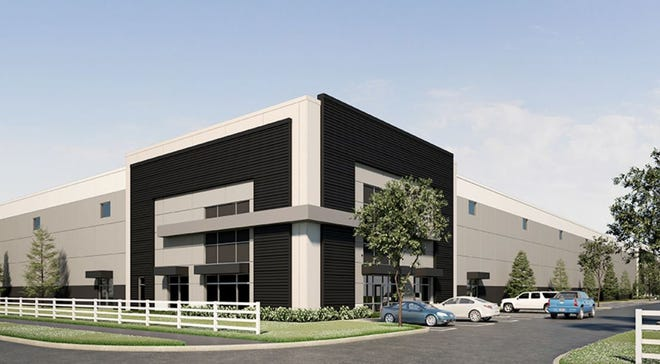 """VanTrust Real Estate has leased most of its two new """"Innovation"""" industrial buildings in New Albany, shown here in a rendering, before the buildings are complete."""