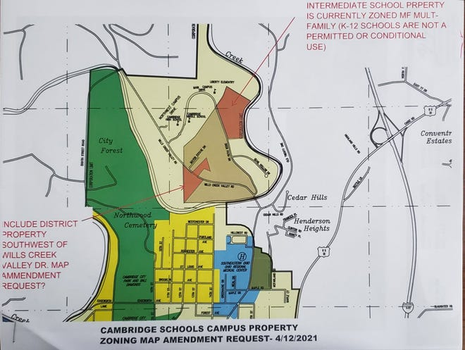 Cambridge City Schools is seeking to have the five acres of undeveloped property located on Wills Creek Valley Drive between Mayor Estates and the Cambridge Care and Rehabilitation Center rezoned so a new transportation center can be built at that site.