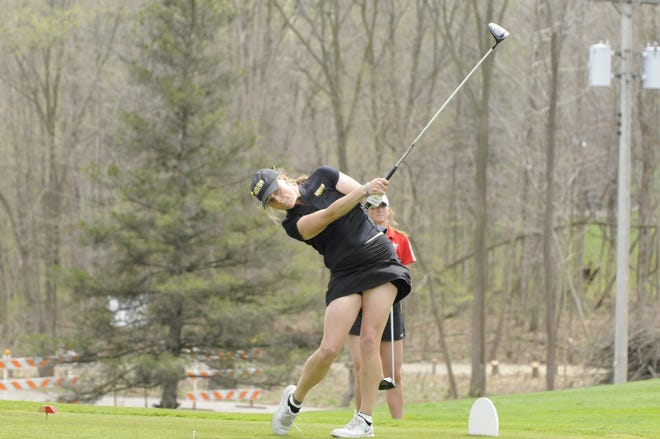 Adrian College Hailey Scott tees off during an MIAA Jamboree at The Hills of Lenawee Golf Club on Saturday, April 10.