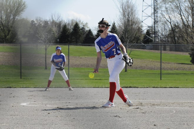 Lenawee Christian's Hannah Baker delivers a pitch during a game Tuesday at Sand Creek.