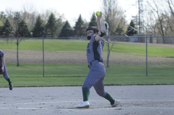 Sand Creek's Lauren Keller delivers a pitch during Tuesday's game against Lenawee Christian.