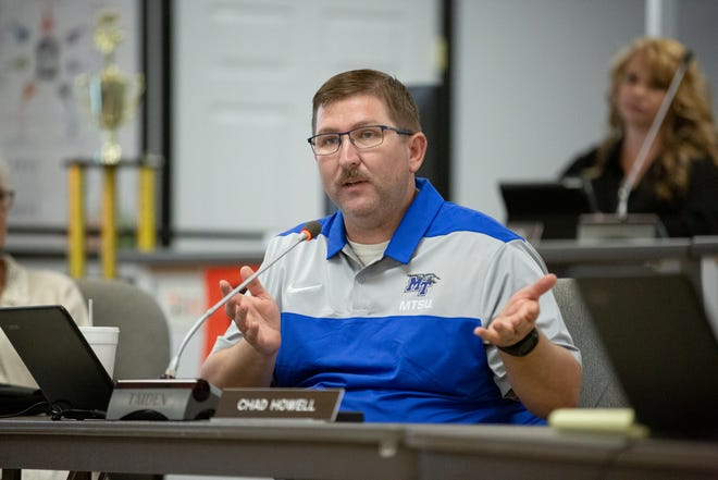 Maury County School Board member Chad Howell, District 9, speaks during a school board meeting at Horace O. Porter School in Columbia, Tenn., on Tuesday, April 13, 2021.