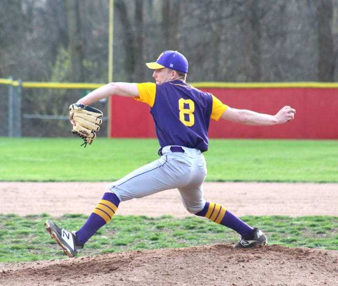 Bronson's Blaine Robinson, shown here in action during his sophomore season, threw his first career no-hitter Tuesday, leading the Vikings to a big sweep over Springport