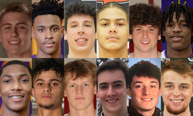 The Erie Times-News District 10 Boys Basketball Big School First Team is, top from left, McDowell's Jonah Bock, Erie's Marquell Darnell, Cathedral Prep's Liam Galla and Khali Horton, Hickory's Peyton Mele and Erie's Jamie Smith.The Big School Second Team is, bottom from left, Erie's Marcell Banks, Grove City's Michael Brooks, Hickory's Connor Evans, Harbor Creek's Sam Howell, McDowell's Jackson Hower and Meadville's Charlie Waid.