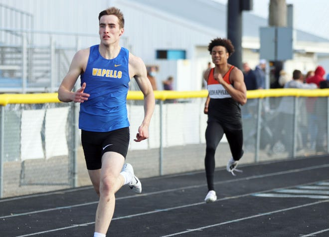Wapello's Caden Thomas wins the 400m day at the Indian relays Tuesday at Wapello.