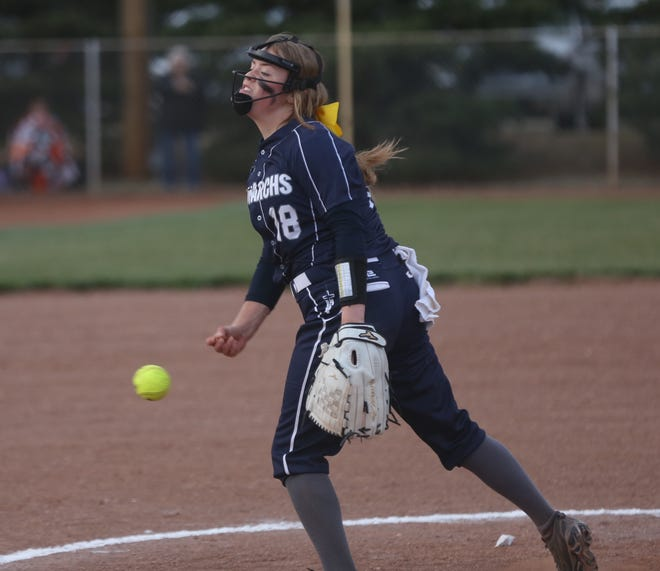 TMP's Madison Augustine delivers a pitch on Tuesday against Ellis at TMP.