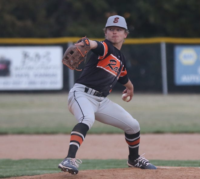 Ellis' Tyson Jimenez brings a pitch to the plate on Tuesday against TMP. The Railroaders took 7-0 wins in both games.