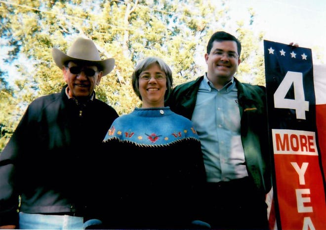 Judge Carol Siebman, in the middle, with the late Keith Gary, retired Grayson County Sheriff on the left, and Judge Larry Phillips on her right.