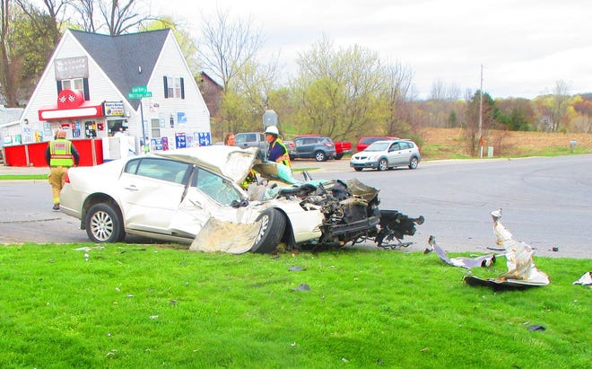 A 93-year-old Saranac man was taken to the hospital with non-life-threatening injuries after a crash with a large farm vehicle Wednesday morning in Boston Township, according to the Ionia County Sheriff's Office.