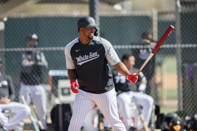 Eloy Jimenez, currently sidelined with a serious pectoral injury, bats during a scrimmage against other Chicago White Sox players during spring training on Feb. 26 at Camelback Ranch in Glendale, Ariz.