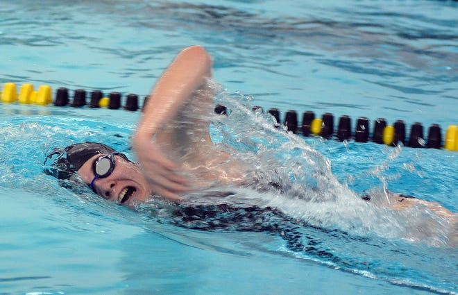 Hutchinson junior Isabelle Kongable competes in the 500-yard freestyle during the Newton Invitational. Kongable finished seventh in the event. Hutchinson was ninth in the team standings.