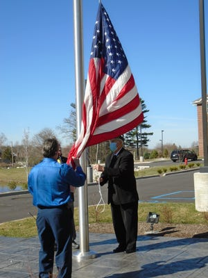 Hudson Meadows Retirement Community recently hosted a flag dedication ceremony.  Colors were presented by the American Legion and American Legion Auxiliary of Lee-Bishop Post 464 of Hudson.