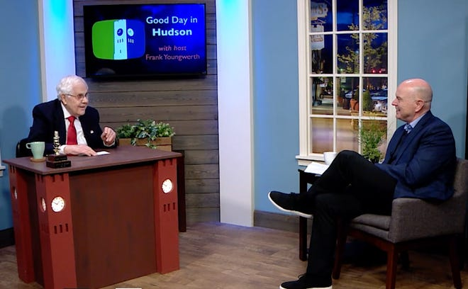 Assistant City Manager Thom Sheridan visits with host Frank Youngwerth in Good Day in Hudson, a monthly production of Hudson Community Television.