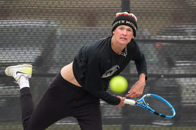 Coronado's Jeb Kitten serves the ball during the District 4-5A tennis tournament on Wednesday at the Burgess Tennis Center.