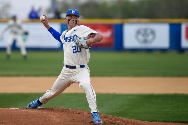Frenship's Hayden Kennard pitches during a baseball game against Midland High on April 13 at Tiger Field in Wolfforth.