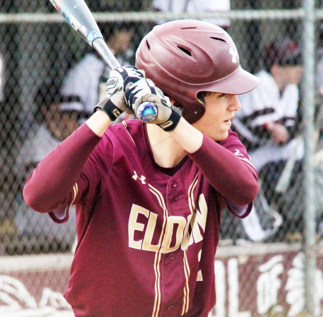 Eldon sophomore Kasen Bashore waits for a pitch in a game against Osage on April 12 in Osage Beach.